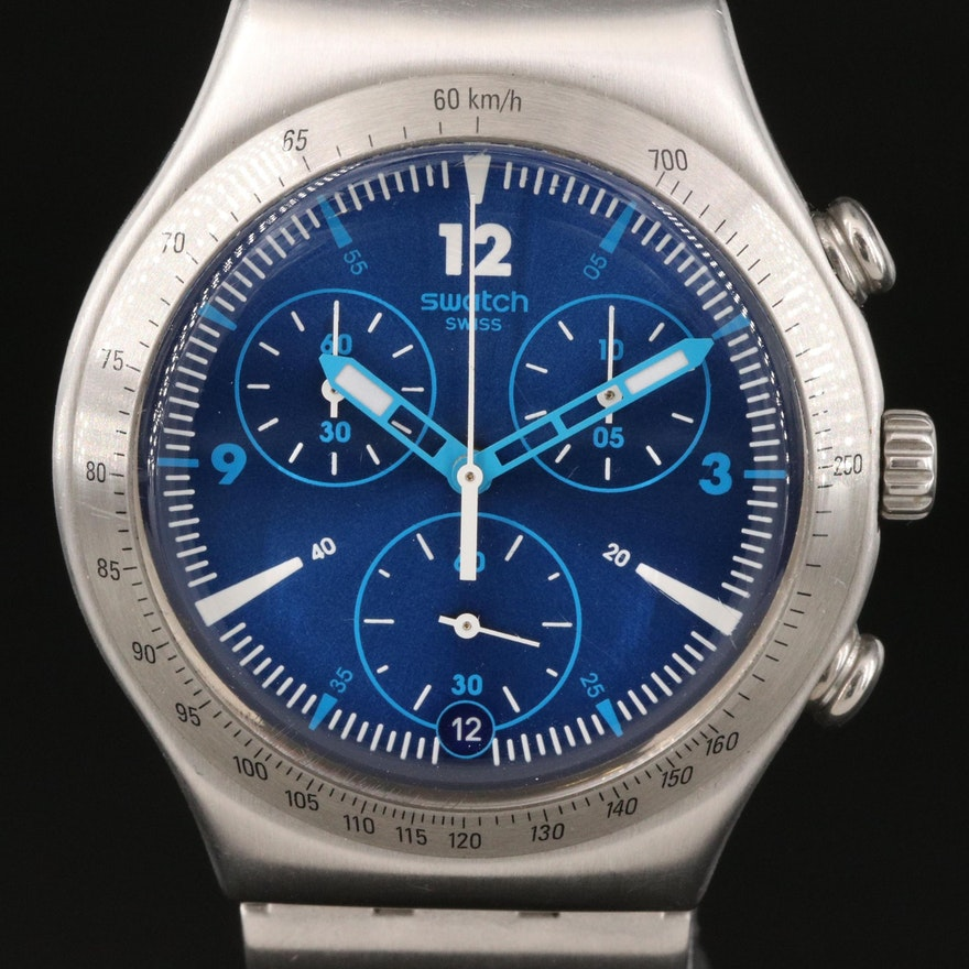 Swatch Irony Rythmic Blue Chrono Stainless Steel Wristwatch
