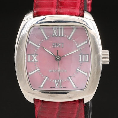"""Swiss Watch International """"Montreux"""" Wristwatch with Pink Mother of Pearl Dial"""