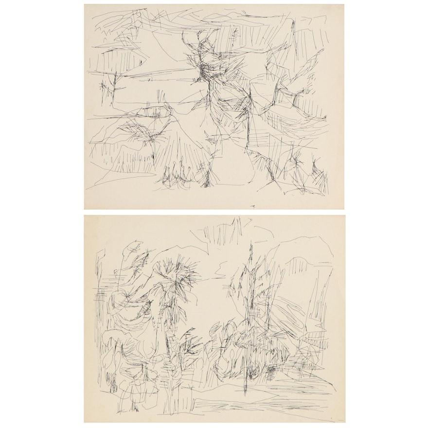 Betty Klavun Ink Drawings, Late 20th Century