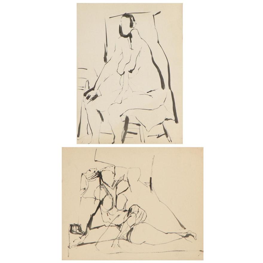 Betty Klavun Watercolor Studies, Late 20th Century