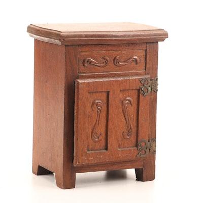 Handmade Oak Miniature Icebox, 1930s