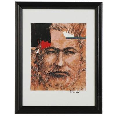 "Michael Norviel Offset Lithograph ""Hemingway,"" Circa 2014"
