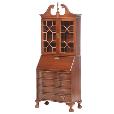 Chippendale Style Mahogany-Stained Secretary Bookcase, Late 20th Century