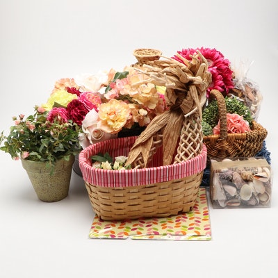 Floral Pieces, Baskets, Seashells, Placemats, and Other Decor