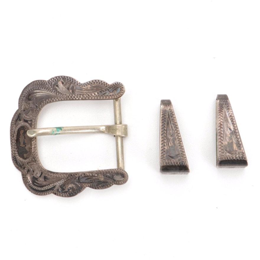 Vogt Engraved Sterling Silver Belt Buckle with Silver Tone Metal Belt Keepers
