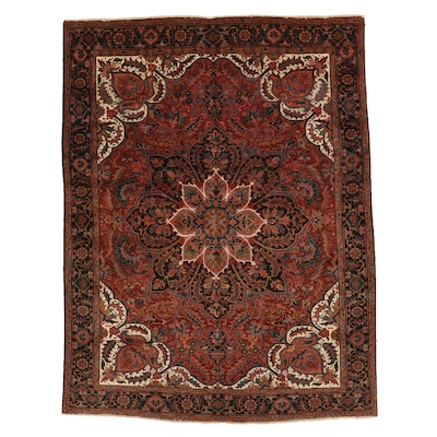 9'6 x 12'4 Hand-Knotted Persian Heriz Room Sized Rug