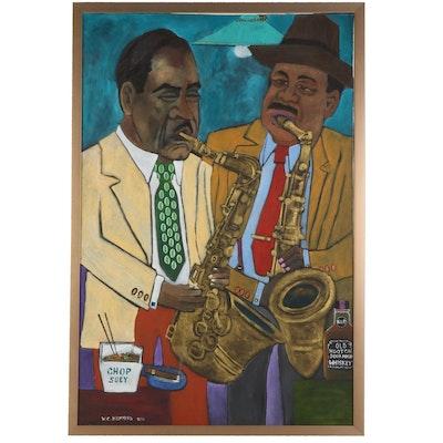 William C. Hemming Jazz Saxophonist Folk Art Acrylic Painting, 2000