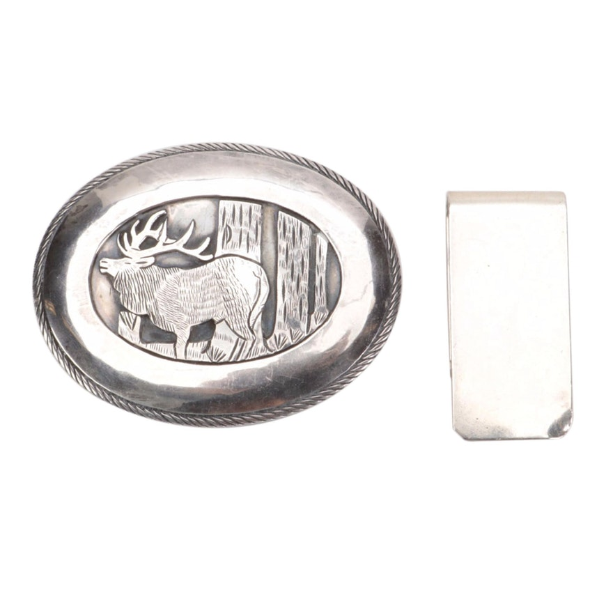 Sterling Silver Tom Bahe Signed Moose Engraved Buckle and Doskow Money Clip