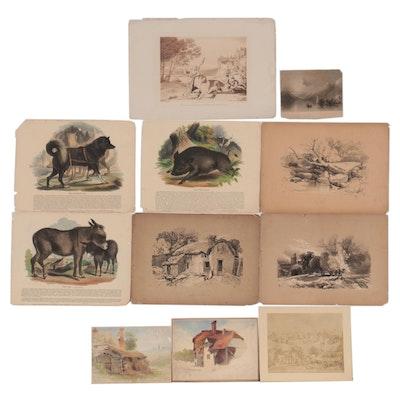 Landscape Lithographs, Intaglio Prints, and More