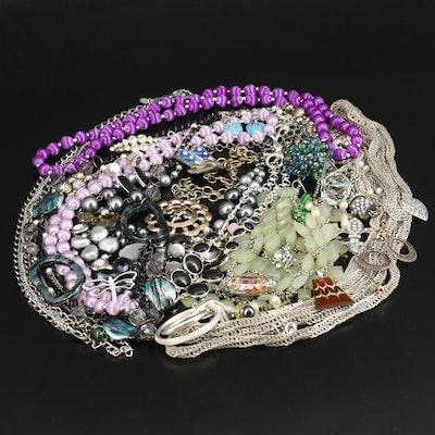 Rhinestone Jewelry with Nephrite Bib Necklace