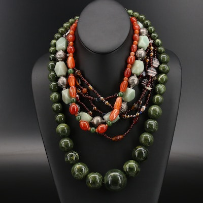 Venetian Glass Bead Necklaces Including Agate, Aventurine and Gemstone