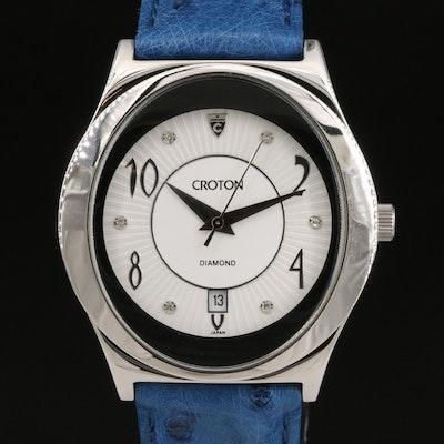 Croton Diamond Dial Stainless Steel Quartz Wristwatch