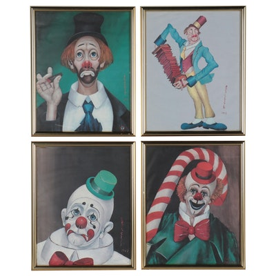 Offset Lithographs After Red Skelton of Clown Portraits, Late 20th Century