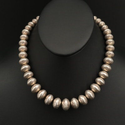 Sterling Silver Graduated Bench Bead Necklace with Stamped Pattern