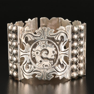Mexican Modernist Sterling Silver Panel Bracelet