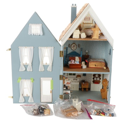 Handcrafted Doll House with Furniture, Accessories, Mid-20th Century