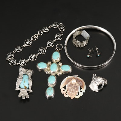 Jewelry Including Sterling Silver, Turquoise and Mother of Pearl