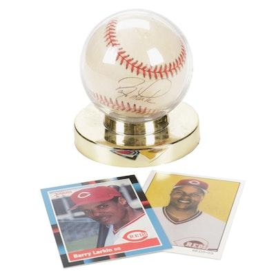 Cincinnati Reds Barry Larkin Baseball Trading Cards and Signed Ball