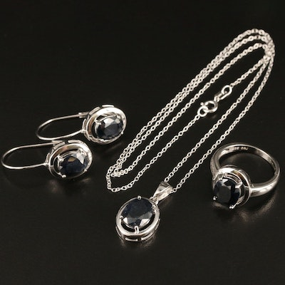 Sterling Sapphire Necklace, Ring and Earring Set