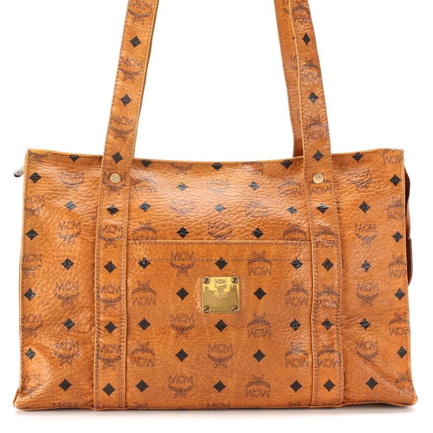 MCM Heritage Tote Bag in Cognac Visetos Canvas