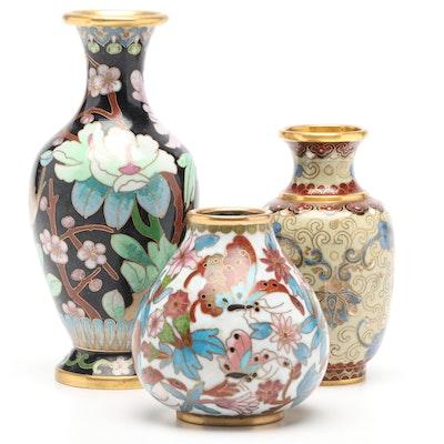 Chinese Cloissoné Bud Vases