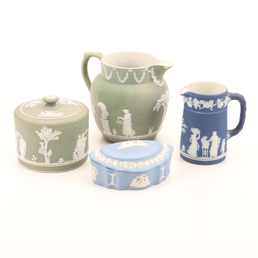Wedgwood Jasperware Cobalt, Sage and Blue Pitchers and Jars