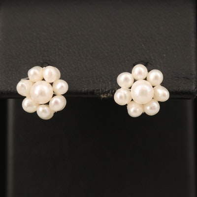 14K Pearl Cluster Stud Earrings