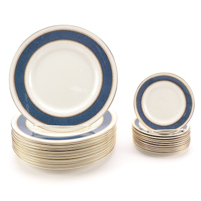 """Royal Worcester """"Belvoir Blue"""" Bone China Dinner and Bread & Butter Plates"""