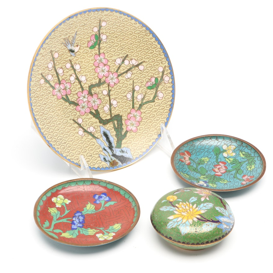 Chinese Cloisonné Plates and Covered Box, Mid to Late 20th Century
