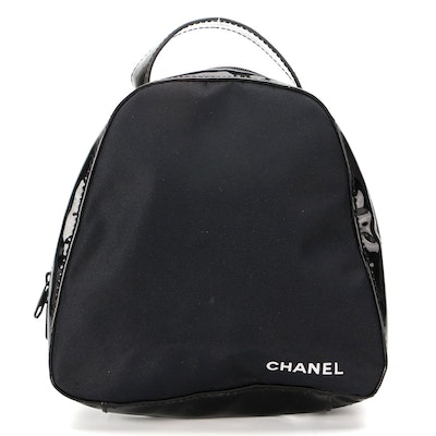 Chanel Promotional Mini Top Handle Bag in Black Patent Leather and Nylon