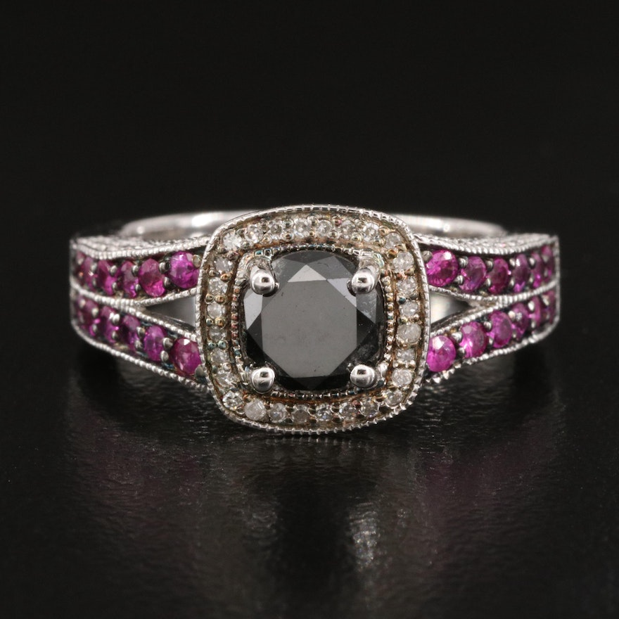 Sterling Silver 1.25 CTW Diamond and Sapphire Ring