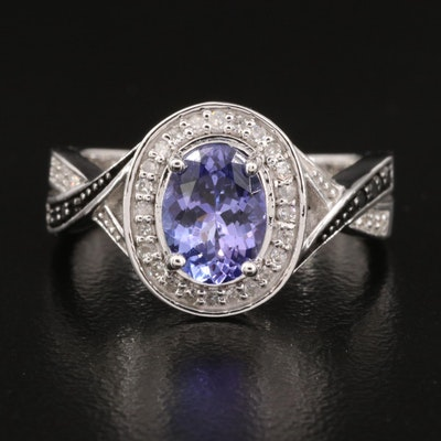 Sterling Silver Tanzanite and Diamond Oval Ring