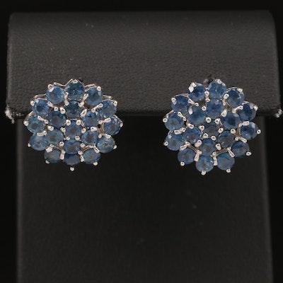Sterling Sapphire Cluster Earrings