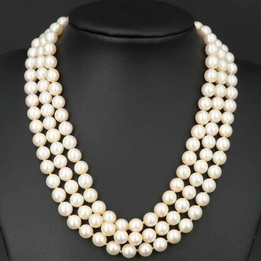 Triple Strand Pearl Necklace with 14K Pearl and Diamond Clasp