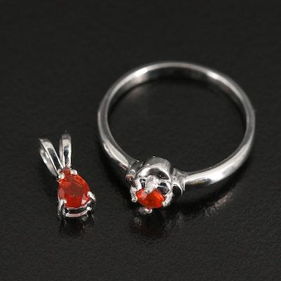 Sterling Fire Opal Quatrefoil Ring and Teardrop Pendant