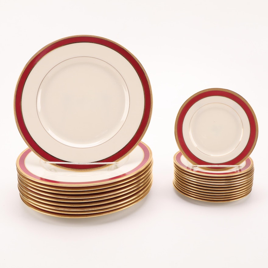 Lenox Gold Trimmed Bone China Dinner and Bread & Butter Plates