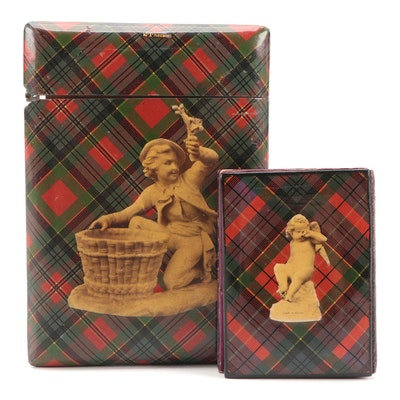 Scottish Mauchline Tartan Ware Calling Card and Needle, Late 19th Century