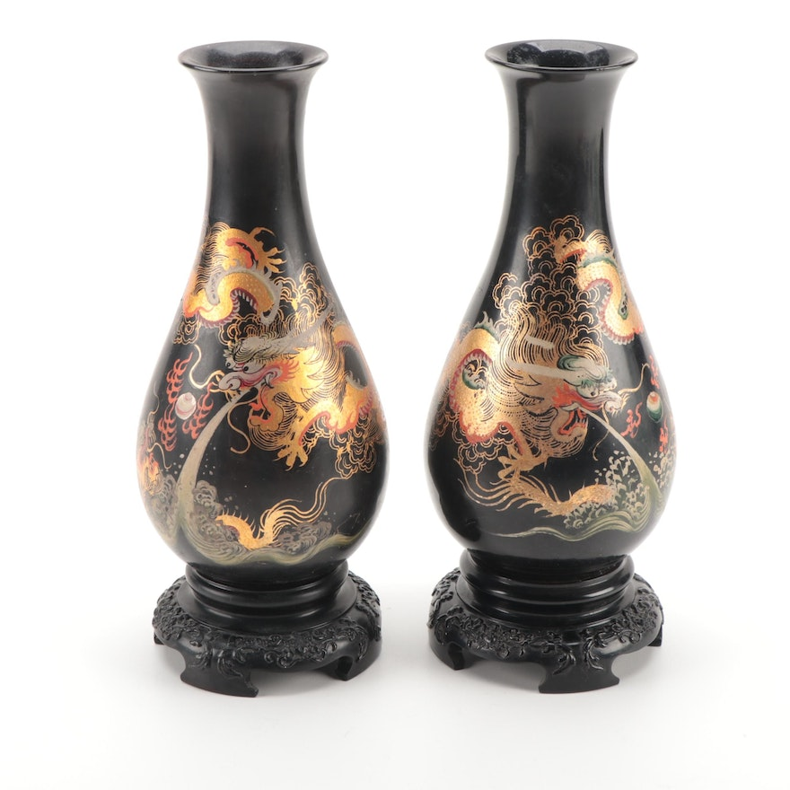 Chinese Hand-Painted Lacquerware Vases with Dragons Chasing Flaming Pearl
