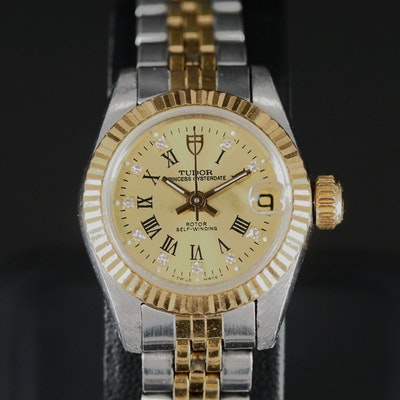 1996 Tudor Princess Oysterdate 18K and Stainless Steel Diamond Dial Wristwatch