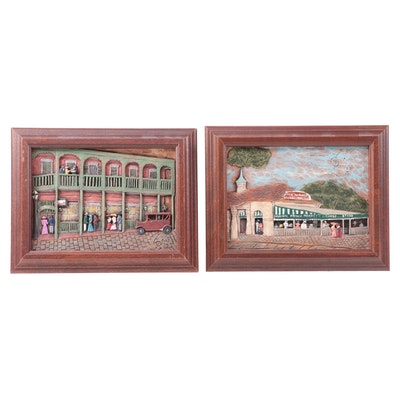 Kay Glenn and Sylvia K. Hand Carved Wood Relief of New Orleans Landmarks, 1989