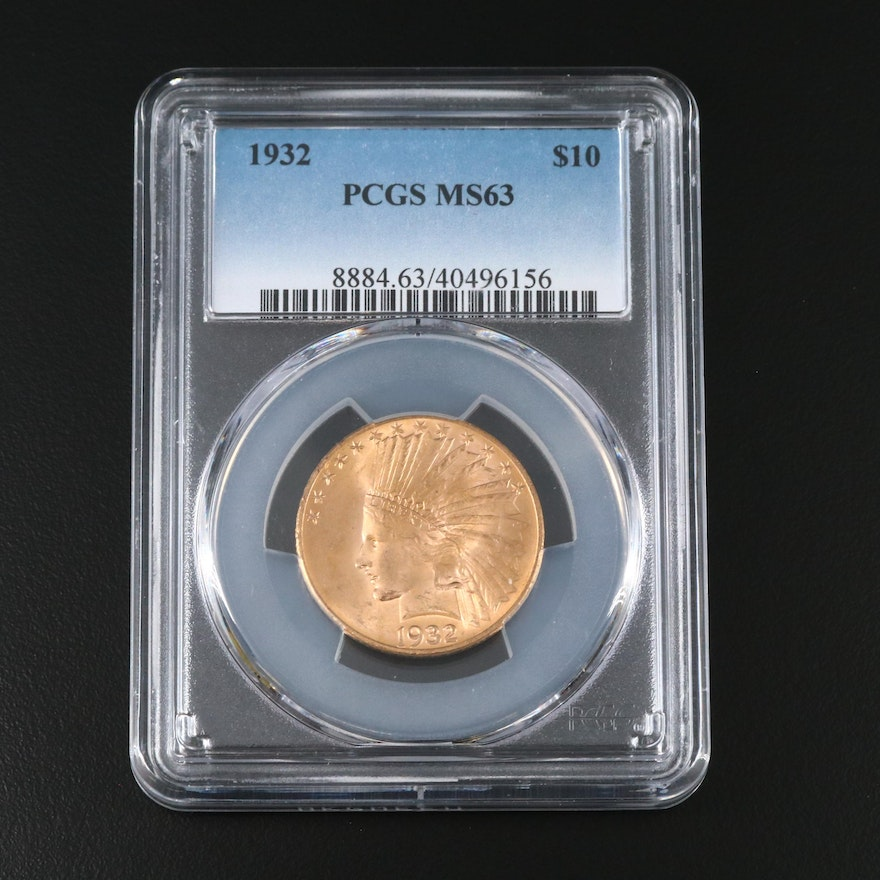 PCGS Graded MS63 1932 Indian Head $10 Gold Half Eagle