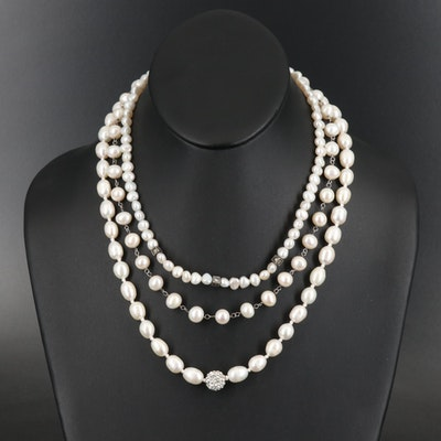 Sterling Pearl Necklaces with Marcasite Accents