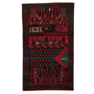 2'11 x 5' Hand-Knotted Afghan Baluch Accent Rug