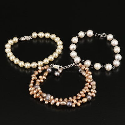 Sterling Pearl and Faux Pearl Bracelets