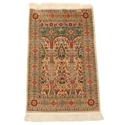 2'5 x 4'6 Hand-Knotted Indian Kashmir Silk Prayer Rug