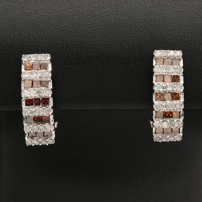 Sterling Silver 2.00 CTW Diamond J-Hoop Earrings