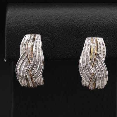 Sterling Diamond Crossover J Hoop Earrings