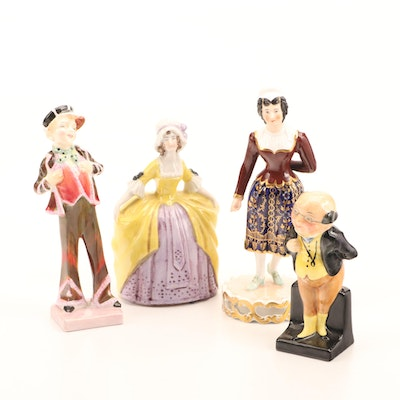 Royal Doulton, Royal Crown Derby and Others Porcelain Figurines and Bell