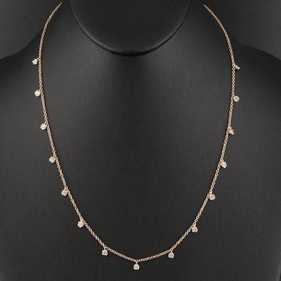 14K 1.20 CTW Diamond Station Necklace