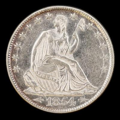 "1854-O Seated Liberty ""Arrows - No Rays"" Silver Half Dollar"